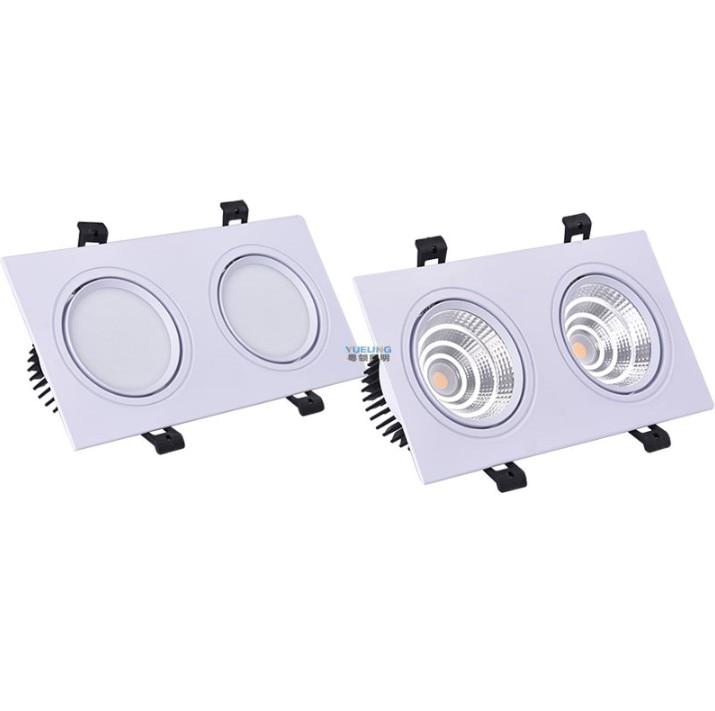 Luz recessed do ponto da lâmpada do diodo emissor de luz de downlight epistar para a iluminação de casa o dobro regulável AC85V-265V 2x7w 2x9w 2x12w 15w do teto