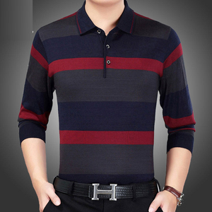 Image 3 - 2019 Mannen Gestreept Polo Shirt Lange Mouwen Herfst Winter Nieuwe Mode Hoge Kwaliteit Mannelijke Toevallige Effen Polo Shirt Merk Kleding