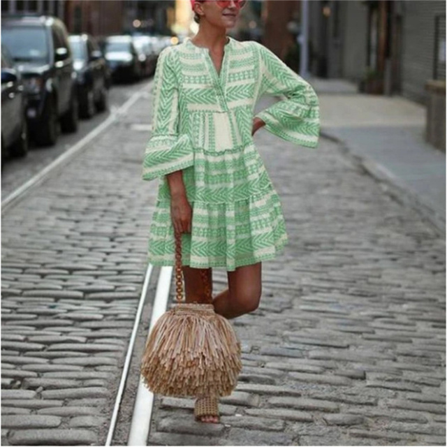 Women Summer Boho Mini Striped Printing Dress 2021 Flare Sleeve Flowy Beach Party Plus Size Fashion Casual V-Neck Loose Dresses 4