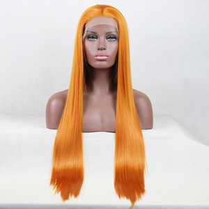 Charisma Side Part Orange Wig Long Straight Heat Resistant Fiber Hair 13X4 Lace Front Wig Synthetic Wigs for Women Baby Hair