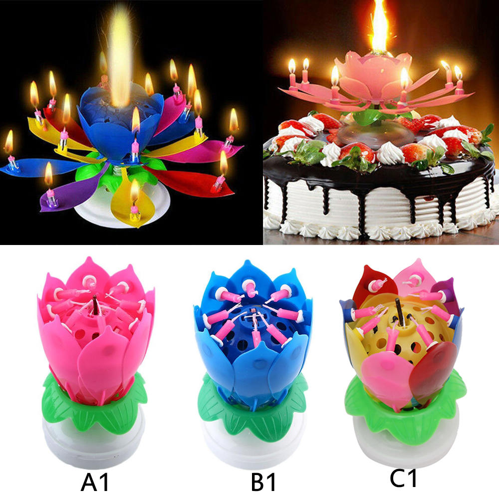Cake Topper Lotus Flower Rotating Birthday Candle Blossom Decoration Party Magic Greeting Cards Party Supply Party Supplies