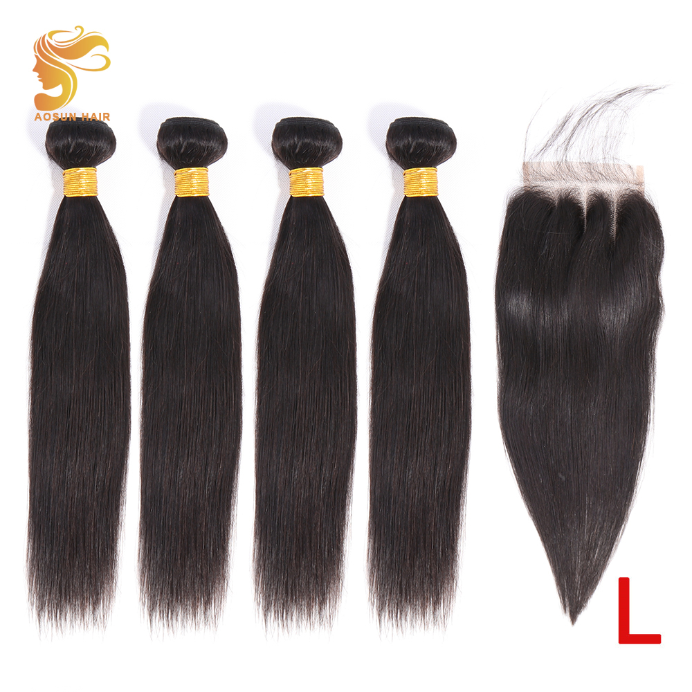 AOSUN HAIR Brazilian Hair Weave Bundles Remy Straight Hair Bundles With Closure 100% Human Hair Extension 4PCS With Lace Closure