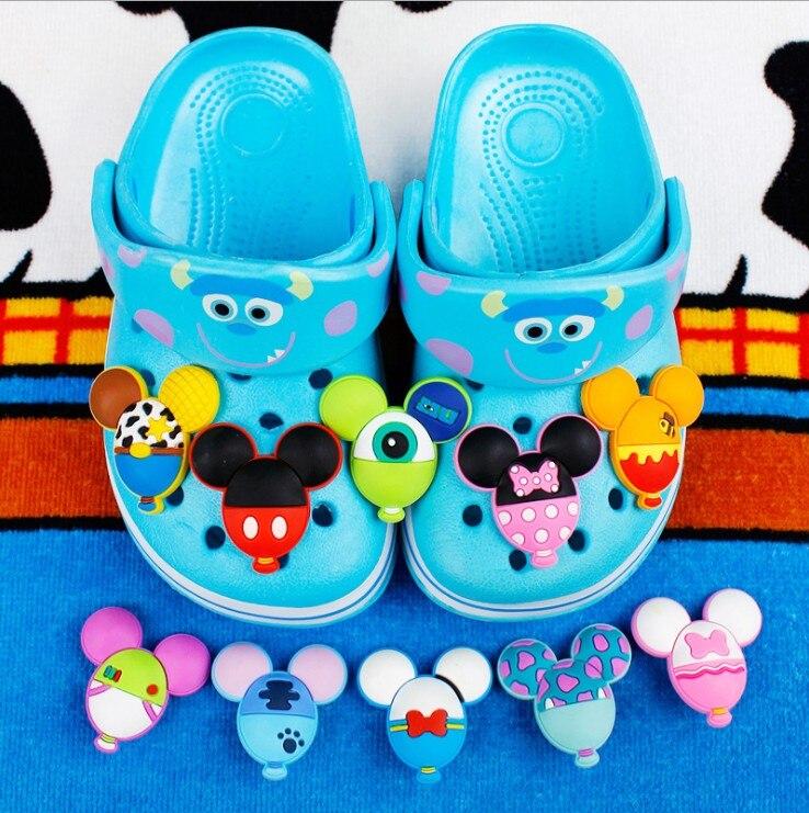 Mickey Minnie Donald Duck Daisy Balloon Shape Shoe Charms Cross PVC Beach Shoe Accessories Hole Shoes Buckle JIbiz Gift For Kids