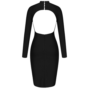 Image 5 - Ocstrade שחור תחבושת שמלה סקסית ארוך שרוול Bodycon שמלת 2020 סתיו בגדים חדש הגעה נשים ללא משענת לילה מועדון מסיבת שמלה