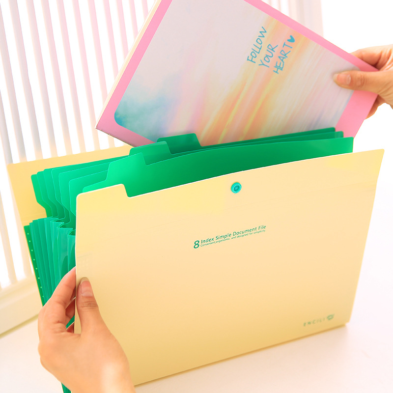 Colorful Office Folder A4 File Folder 8 Pockets Expanding Wallet Office Organizers PP Document Organizer Fashinable Colorful
