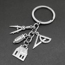 Nova casa chaveiro bússola régua chaveiro imobiliário arquiteto engenheiro engenharia estudante desenho presentes