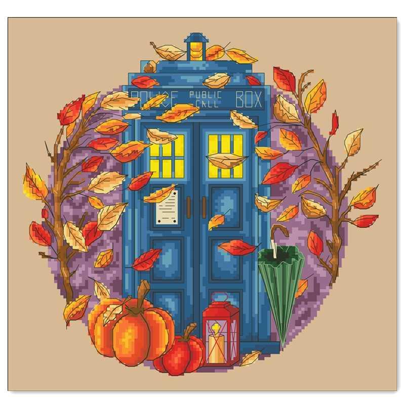 الخريف اليقطين الباب عبر الابره عدة الكرتون تصميم القطن الحرير الموضوع 14ct 11ct الكتان الكتان الكتان التطريز لتقوم بها بنفسك الإبرة