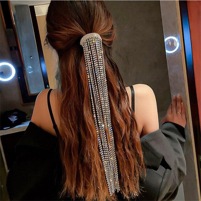 FYUAN Shine Full Rhinestone Hairpins for Women Bijoux Long Tassel Crystal Hair Accessories Wedding Banquet Jewelry 4
