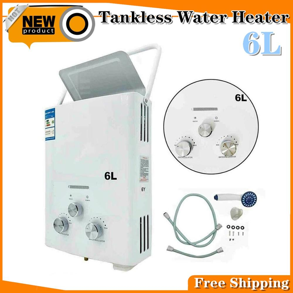 6L LPG Tankless Propane Gas Hot Water Heater Liquid Petroleum Gas Instant Bath Portable Tankless W/ Shower Head Hot Water Heater