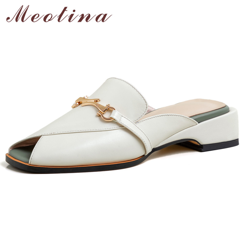 Meotina High Heels Women Pumps Natural Genuine Leather Thick Heels Mules Shoes Cow Leather Chain Peep Toe Shoes Lady Size 33-40