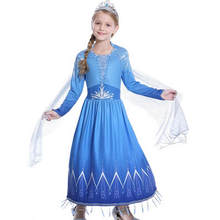 MUABABY NEW Elsa 2 Princess Evening Dress for Girls Long Sleeve Snow Print Halloween