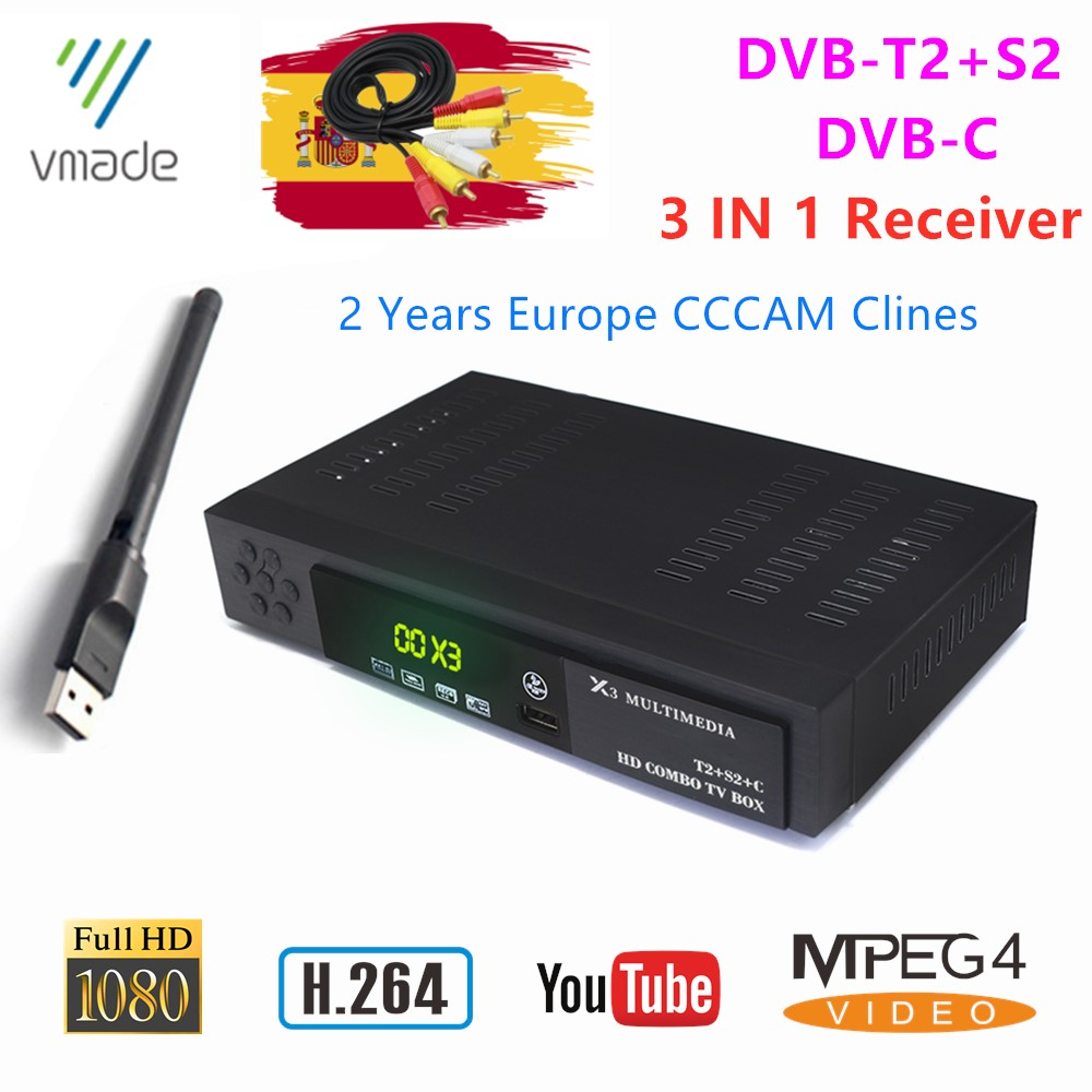 Vmade HD 1080p Digital Terrestrial Satellite TV Receiver DVB T2 S2 DVB-C H.264 TV Tuner Receiver Support CCCAM YouTube TV Box