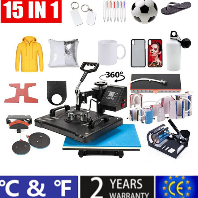 15 em 1 impressora de transferência térmica da máquina da imprensa do calor da sublimação da tela dupla t para a caneca/tampão/sapata/pena/futebol/garrafa