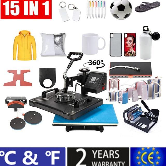15 en 1 Double affichage Sublimation presse à chaud Machine t shirt transfert de chaleur imprimante pour tasse/bouchon/chaussure/stylo/Football/bouteille