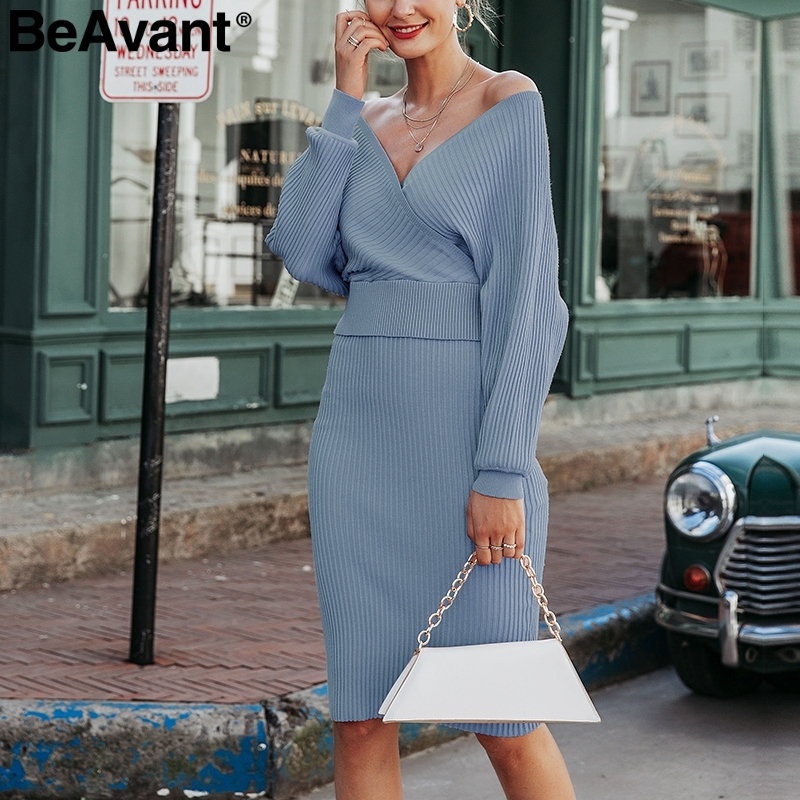BeAvant Two piece sexy knitted dress women V neck long sleeve female autumn sweater dresses Winter party ladies pink vestidos
