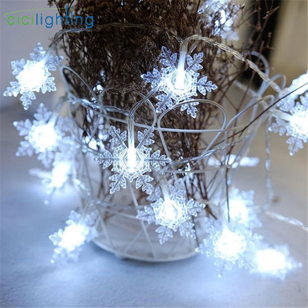 2019 New Design Snowflake Fairy Garland LED String Light For Christmas Tree Home Indoor Decoration Battery Power Cool White Lamp