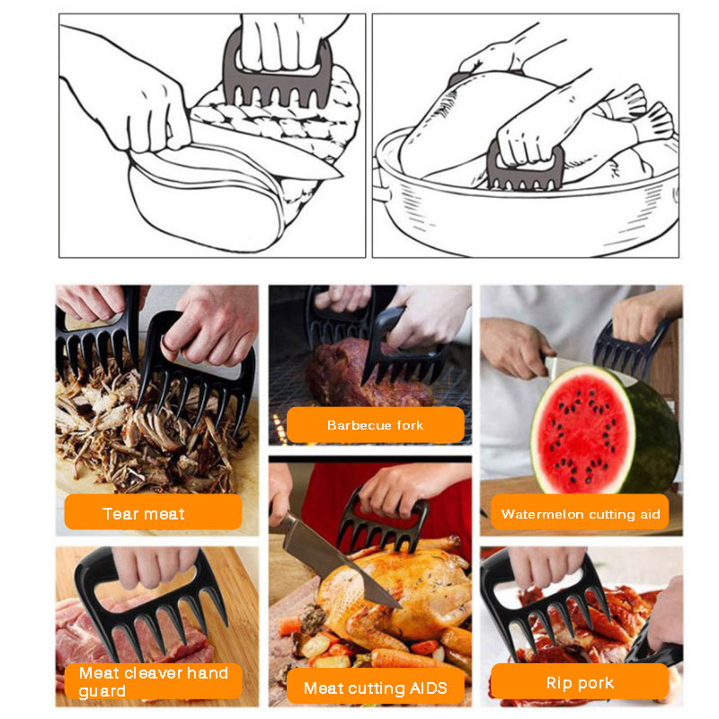 1 Pair Bear Claws Fork stainless Wooden steel Hold meat firmly while carving or transferring and easily shred Meat Claws Tools