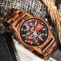 Men Watch Wood Watches Top Luxury Chronograph Wristwatch Quartz Movement Calendar Full Wooden Adjustable Band Relogio Masculino