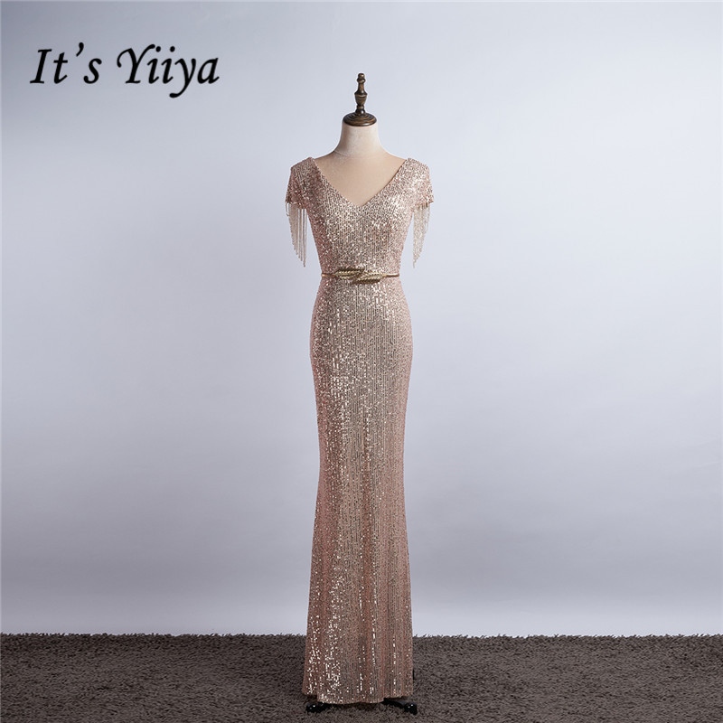It's Yiiya Evening Dress For Girls Champagne Sequined Beading Evening Dresses 2020 Formal Gowns Mermaid Long Robe De Soiree K044
