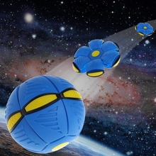Flying UFO Flat Throw Disc Ball With LED Light Toy Kid Outdoor Garden Beach Game F3ME