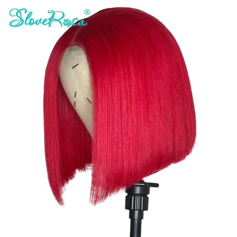 Colorful Short Bob Wig Brazilian Remy Hair Lace Front Human Hair Wigs With Baby Hair Pre