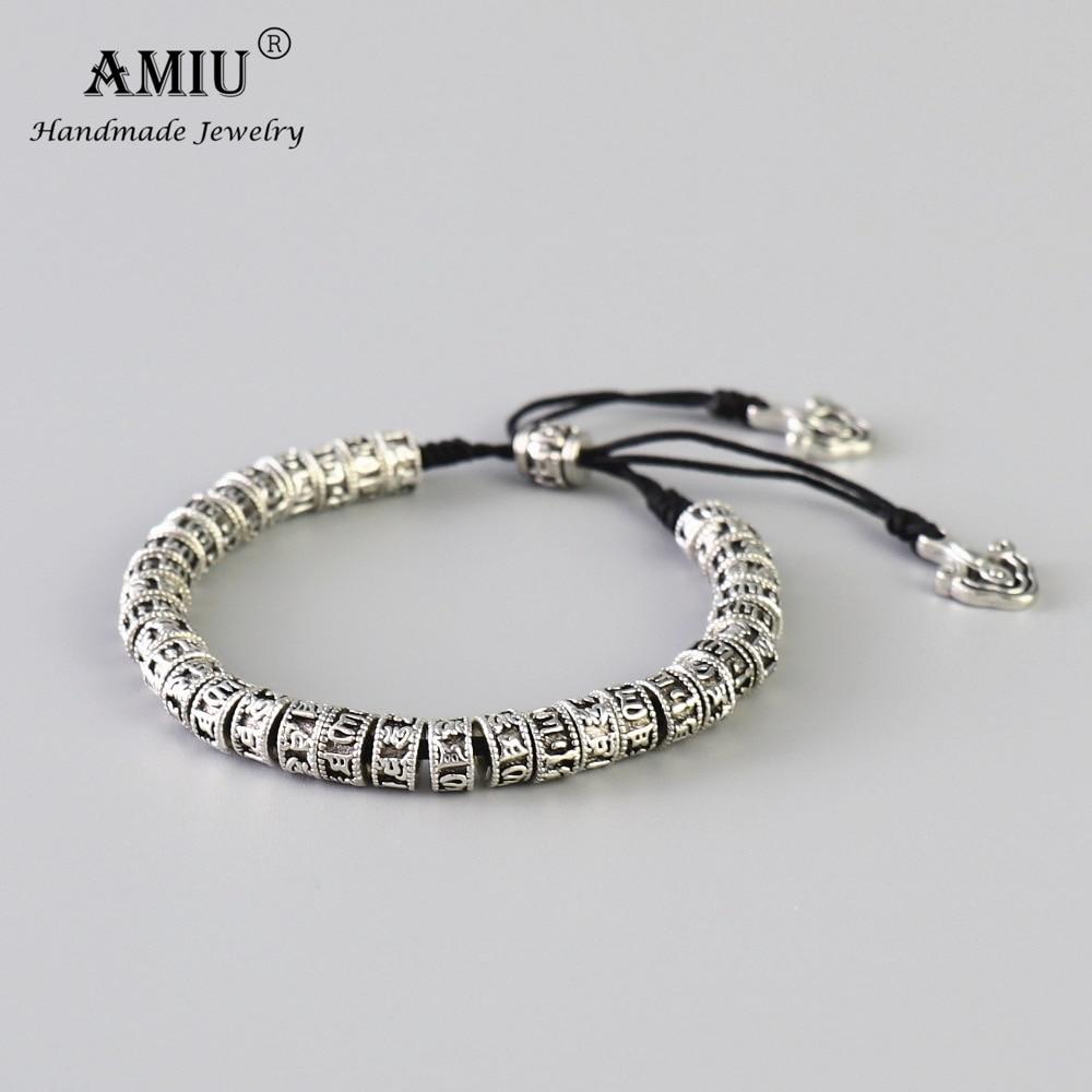 AMIU Tibetan Buddhism Alloy Beads Bracelet Six Words Mantra Handmade Black Knot Antiqued Metal Amulet Beads Bracelet For Men