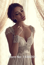 Fashion Cap Sleeves Beading Lace A Line Floor Length Wedding Dresses for Bride