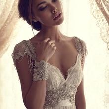 Vestidos de novia de longitud hasta el suelo de encaje con cuentas mangas de moda