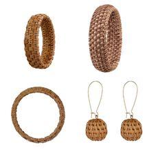 Ethnic Handmade Natural Plant Straw Rattan Woven Earrings Bracelet Jewelry Women