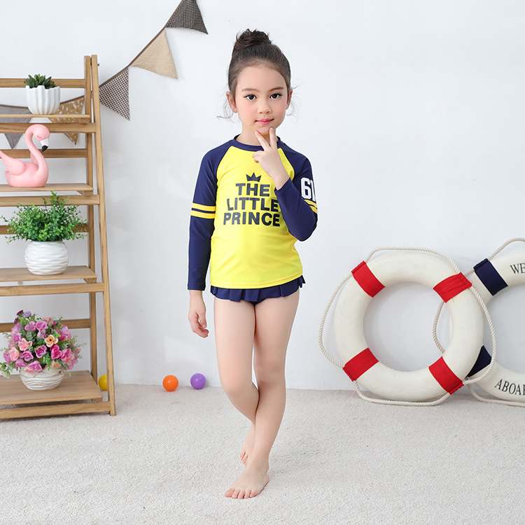 Girls' Two-piece Swimsuit Long Sleeve Yellow Crown Briefs-KID'S Swimwear Hot Springs Clothing This Non-Swimming Cap