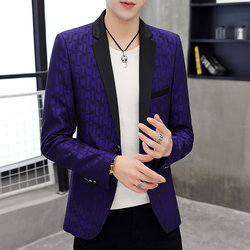 Fall 2019 Men's Plaid Suit Black Suit Collar Printing Cultivate One's Morality Handsome Non-blue Brought The Suit