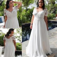 Brilliant Chiffon V-Neckline A-line Plus Size Wedding Dresses With Beaded Lace Appliques Short Sleeves Bridal Gowns 2019 New lace jewel neckline cap sleeves ankle length a line flower girl dresses for wedding with lace appliques girls dresses