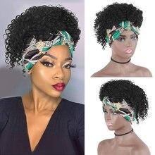 Parrucca fascia Afro parrucca riccia crespa 100% parrucche brasiliane Ombre corte per capelli neri per donne nere Remy Jerry Curl parrucca piena d'acqua profonda