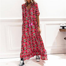 Vintage Skull Print Long Dress Women 2021 Fashion Elegant Drawstring V-Neck Party Dresses Ladies Casual Long Sleeve Loose Dress