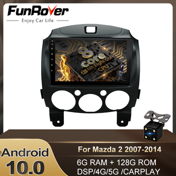 FUNROVER 6G 128G DSP Android 10.0 Car Radio Player Dvd for Mazda 2 2007-2014 Car Multimedia Video GPS Navigation Auto Stereo RDS image