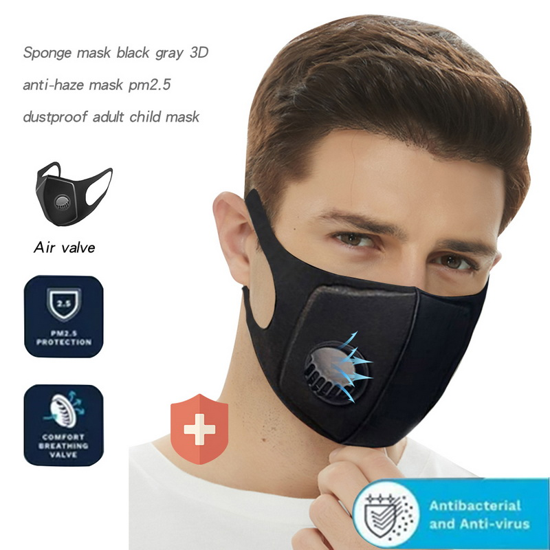 KN95 Men Women Anti Dust Mask Anti PM2.5 Pollution Face Mouth Respirator 3D Mouth Cover Masks Black Breathable Valve Mask Filter