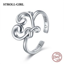 Strollgirl Authentic 925 Sterling Silver Musical Symbol Ring Adjustable Open Ring Luxury Sterling Silver Jewelry Valentine's Day strollgirl authentic 925 sterling silver infinite heart shape ring adjustable open rings luxury sterling silver jewelry 2019