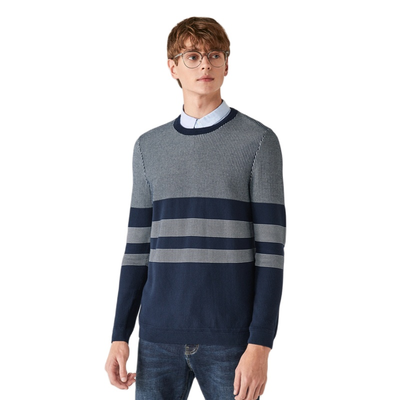 SEMIR 스웨터 남자 2020 봄 새로운 셔츠-칼라 트렌드 니트 풀오버 두꺼운 슬림 스웨터 남자에 대한