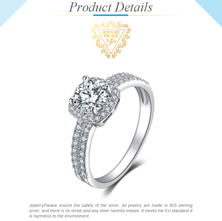 H26d614ce3e6b455bbfd1f8725d99f57eI JewelryPalace 1ct CZ Halo Engagement Ring 925 Sterling Silver Rings for Women Anniversary Ring Wedding Rings Silver 925 Jewelry
