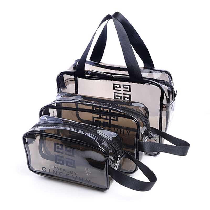 HHYUKIMI 3 Size Durable Waterproof PVC Women's Travel Cosmetic Bag Thickened Cosmetic Organizer Multi Purpose Zipper Makeup Bag