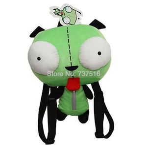 Image 1 - Neue Alien Invader Zim 3D Augen Roboter Gir Nette Gefüllte Plüsch Rucksack Grüne Tasche Weihnachten Geschenk 14 zoll