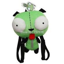 Novo estrangeiro invasor zim 3d olhos robô gir bonito pelúcia mochila saco verde natal presente 14 polegadas