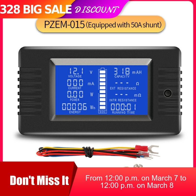 PZEM 015 200v 50A Battery Discharge Tester Capacity Power Energy  Impedance Resistance Digital Ammeter Voltmeter Energy MeterBattery  Testers   -