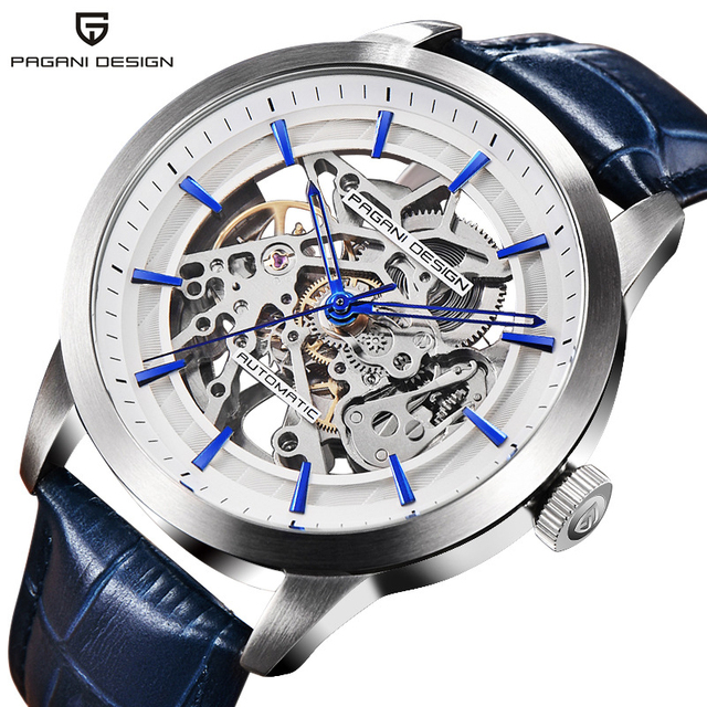 2020 PAGANI تصميم العلامة التجارية موضة جلدية ساعة ذهبية الرجال التلقائي الميكانيكية الهيكل العظمي مقاوم للماء الساعات Relogio Masculino صندوق