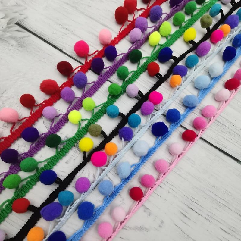 2 ярда, 15 мм, разноцветный помпон, отделка, шар, кружевной жемчужный помпон, фототкань, аксессуары для шитья, кружево