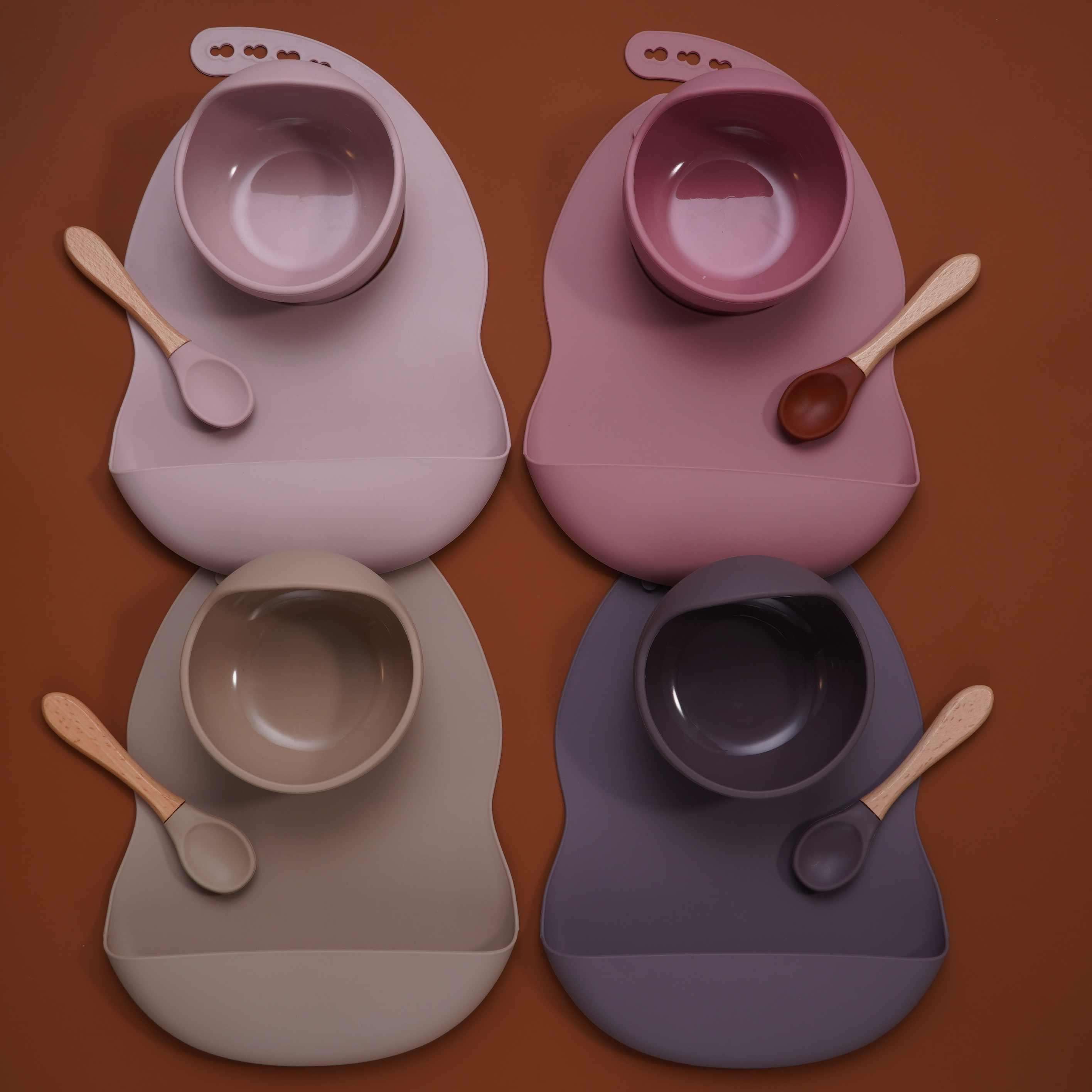 resistente a los derrames con tapa vajilla ecol/ógica para beb/és y ni/ños peque/ños Sheuiossry Cuenco de silicona sin BPA con ventosa para beb/é
