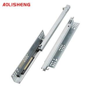 Image 5 - AOLISHENG выдвижной ящик с нижним креплением, потайные двухсекционные мягкие закрывающие слайды для кухонного шкафа