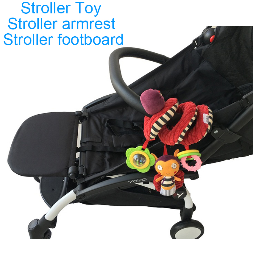 3pcss/set Stroller Accessories Stroller Rattle Toy And High Quality Leather Armrest And Extend Footboard Footrest For Yoyo Yoya