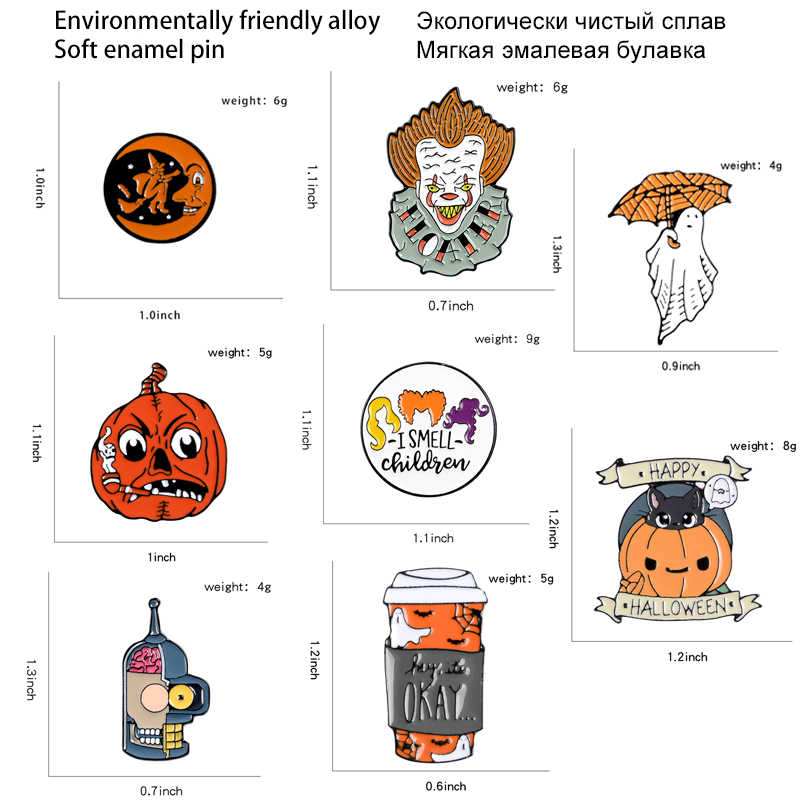 Halloween Pin Kartun Labu Enamel Gotham Badut Penyihir Lencana Bros Kerah untuk Tas, Topi, Jaket Pin Punk Perhiasan Hadiah
