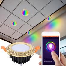 Многоцветный полнофункциональный светодиодный Интеллектуальный светильник круглый потолочное утопленное пятно света приложение WiFi управление световые крышки для потолочных огней